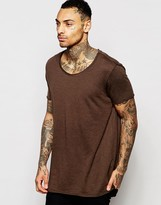 Asos Super Longline T-Shirt In Slubby Fabric With Raw Scoop Neck In Brown