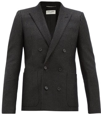 Saint Laurent Pinstriped Double-breasted Wool-blend Blazer - Mens - Black Gold