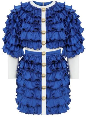 Raisa Vanessa Ruffled Mini Dress With Buckle Details