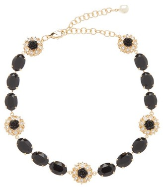 Dolce & Gabbana Crystal And Faux Pearl Choker Necklace - Womens - Black