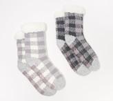 Cuddl Duds Buffalo Check Faux Fur Sherpa Lined Socks Set of 2