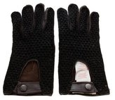 Marni Knit-Trimmed Leather Gloves