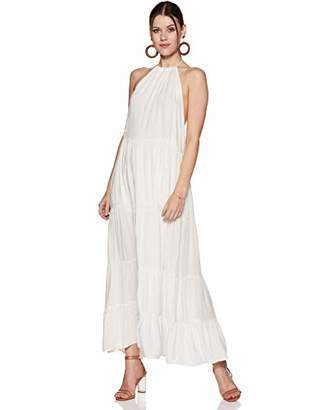 Oasis Wild Women's Solid High Neck Dress with Flowy Bottom and Back Ties (