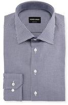 Giorgio Armani Micro-Gingham Long-Sleeve Dress Shirt, Navy