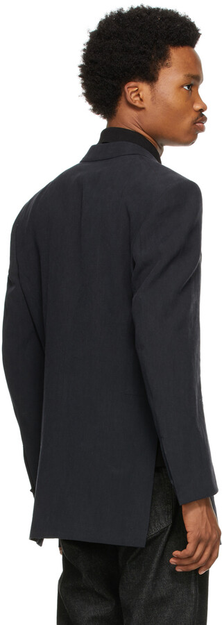 Thumbnail for your product : Ermenegildo Zegna Couture Black Linen Oversized Double-Breasted Blazer