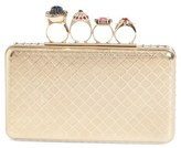 Alexander McQueen Embellished Knuckle Clasp Box Clutch - Metallic
