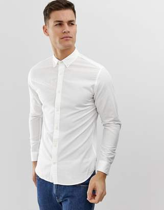 Jack and Jones Essentials slim fit linen mix shirt in white