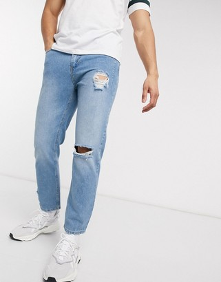 Religion Kick cropped fit jeans with knee rip in blue fade