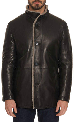 Robert Graham Men's Benson Shearling Fur-Lined Leather Jacket