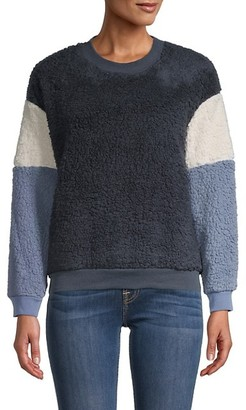 For The Republic Colorblock Faux Fur Sweater