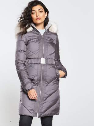 Very Belted Padded Coat with Faux Fur Trim - Charcoal