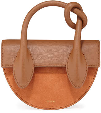 Yuzefi Dolores Suede & Leather Knot-Handle Shoulder Bag