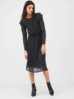Very Spot Frill Sleeve Mesh Midi Jersey Dress - Black