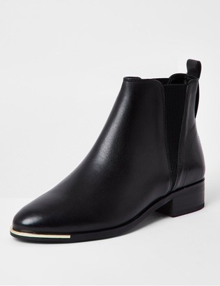 River Island Leather Chelsea Boots - Black