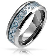 Bling Jewelry Celtic Dragon Inlay Tungsten Wedding Ring 8mm