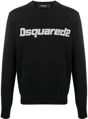 DSQUARED2 Logo-Jacquard Crew Neck Sweater