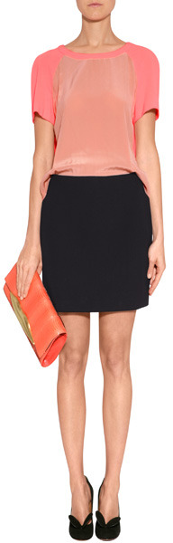 Maje Black/Neon Coral Colorblocked Dress