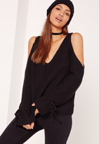 Missguided Black Chunky V Neck Tie Sleeve Sweater