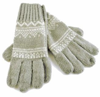 Rjm Ladies Knitted Winter Gloves with Fairisle Design (Grey & White)