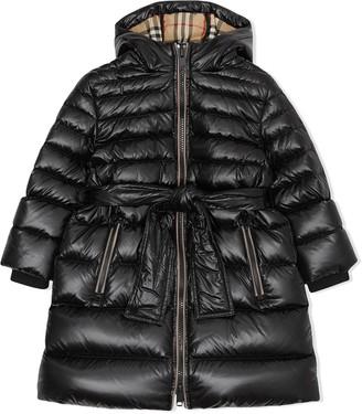 BURBERRY KIDS Icon Stripe Puffer Coat