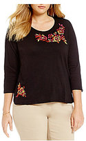 Westbound Plus 3/4 Sleeve Floral Embroidered Crew Tee