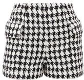 Balmain Houndstooth Cotton-blend Tweed Shorts - Womens - Black White
