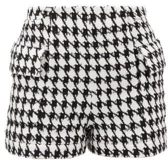 Balmain Houndstooth Cotton-blend Tweed Shorts - Black White