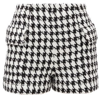 Balmain Houndstooth Cotton-blend Tweed Shorts - Womens - Black White