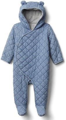 Gap Baby Quilted Chambray Bear One-Piece