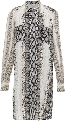 Joie Talma Snake-print Crepe De Chine Mini Shirt Dress