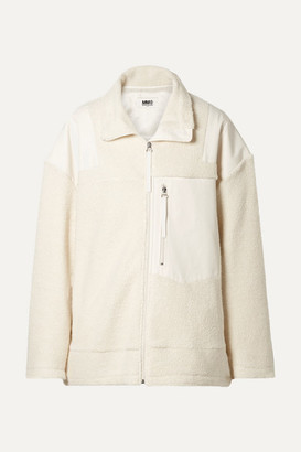 MM6 MAISON MARGIELA Oversized Paneled Wool-blend Fleece And Canvas Jacket - Off-white