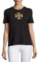 Tory Burch Sequin-Logo Crewneck Tee, Black