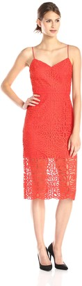 Cynthia Rowley Women's Spaghetti Strap Tea Length Dress in Boho Lace