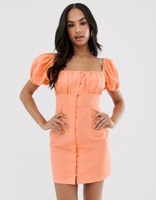 Asos Design DESIGN sweetheart ruched bust button through mini dress