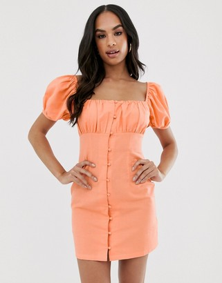 ASOS DESIGN sweetheart ruched bust button through mini dress