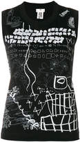 Comme des Garcons sleeveless printed jersey top