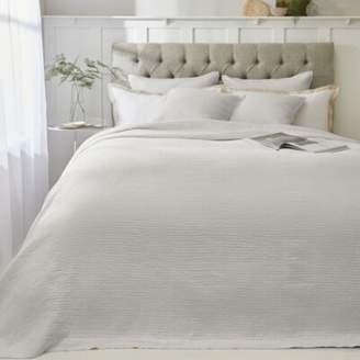 The White Company Evesham Quilt, Soft Grey, Double