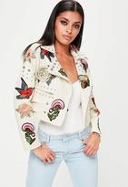 Missguided Cream Badge Studded Faux Leather Biker Jacket, Cream