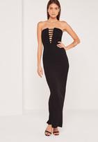Missguided Bandeau Plunge Crepe Maxi Dress Black