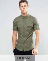ONLY & SONS Skinny Short Sleeve Smart Military Shirt