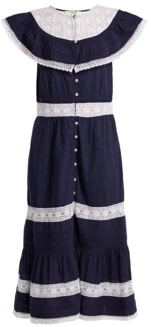 Sea Lace Embroidery Maxi Dress - Womens - Navy