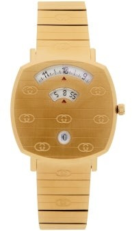 Gucci Grip Gg-engraved Three-window Gold Pvd Watch - Gold