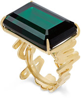 Kate Spade Gold-Tone Green Crystal Cocktail Ring