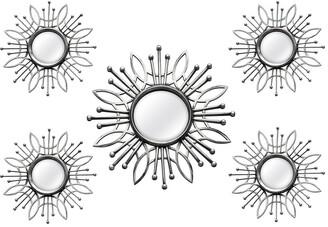 Stratton Home Decor 5Pc Silver Burst Wall Mirror