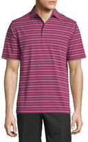 Peter Millar Glenwood Striped Jersey Short-Sleeve Polo Shirt, Wine