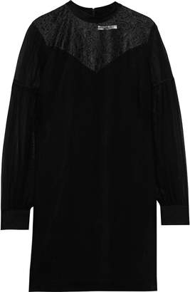 Derek Lam 10 Crosby Lace-paneled Georgette Mini Dress
