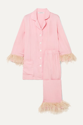 Sleeper Satin And Feather-trimmed Crepe De Chine Pajama Set - Pink