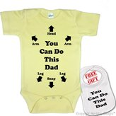 "Igloo "" You Can Do This Dad "" Custom Baby bodysuit onesie & matching bib"