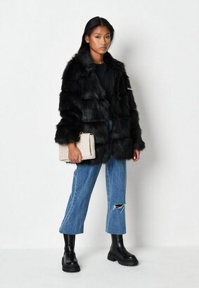 Missguided Black Pelted Faux Fur High Collar Coat