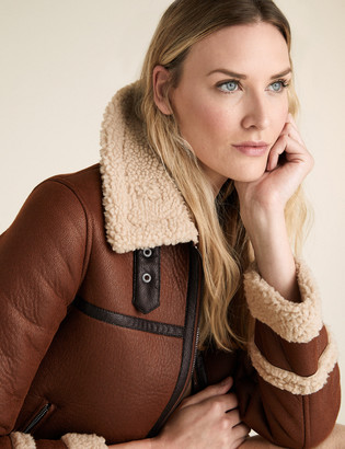 Marks and Spencer Faux Shearling Borg Lined Aviator Jacket